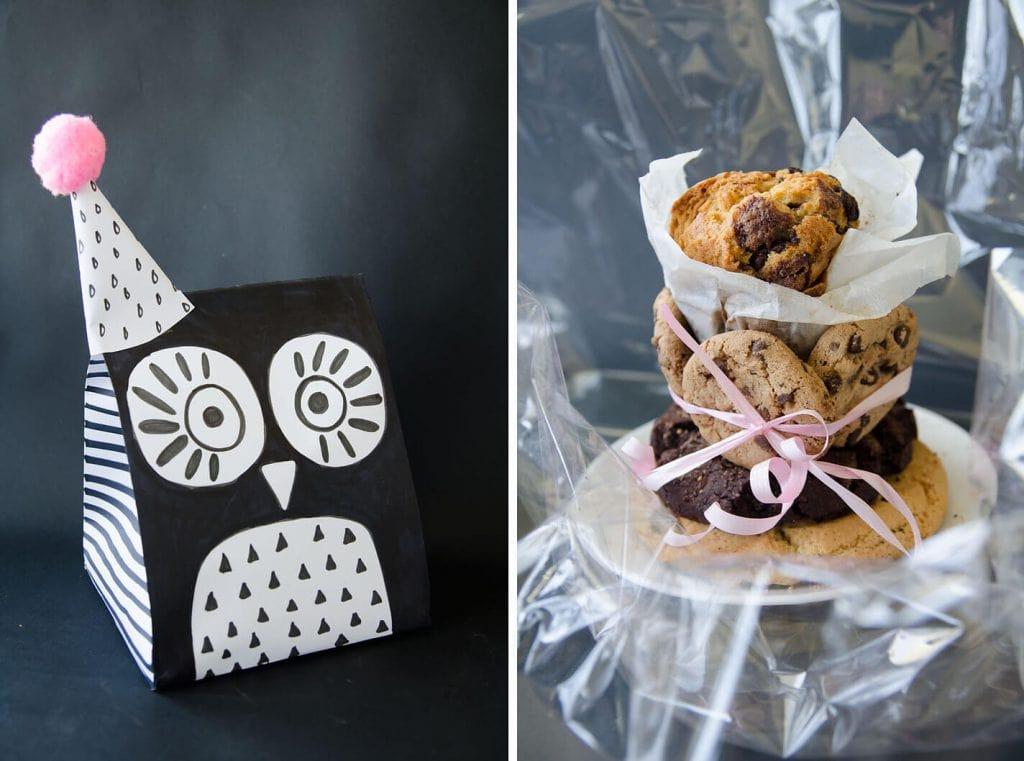 אורזים עוגיות בתוך שקית הפתעה עשה זאת בעצמך בצורת ינשוף
