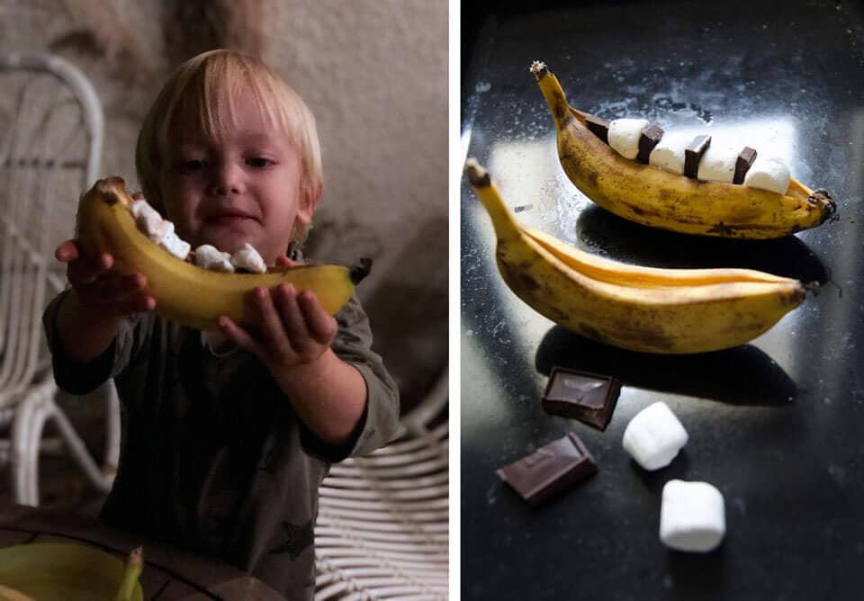 החטיף המושלם למדורה בחצר- בננה עם מרשמלו ושוקולד