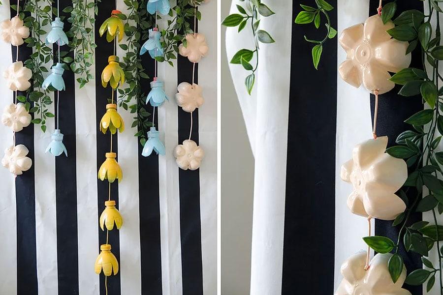 שרשראות פרחים מבקבוקי פלסטיק