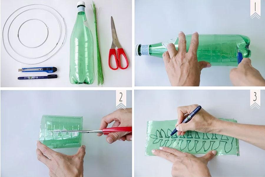 הדרכה בשלבים להכנת מתלים בצורת זרים מעלי זית מבקבוקי פלסטיק