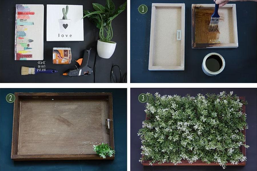 השלבים להכנת תמונות עם צמחים מפלסטיק