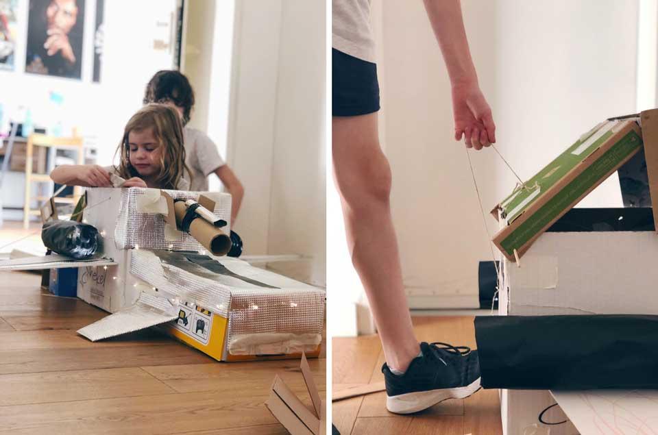 חללית מקופסאות קרטון- פעילות עם הילדים קייטנת אמא, יום חלל