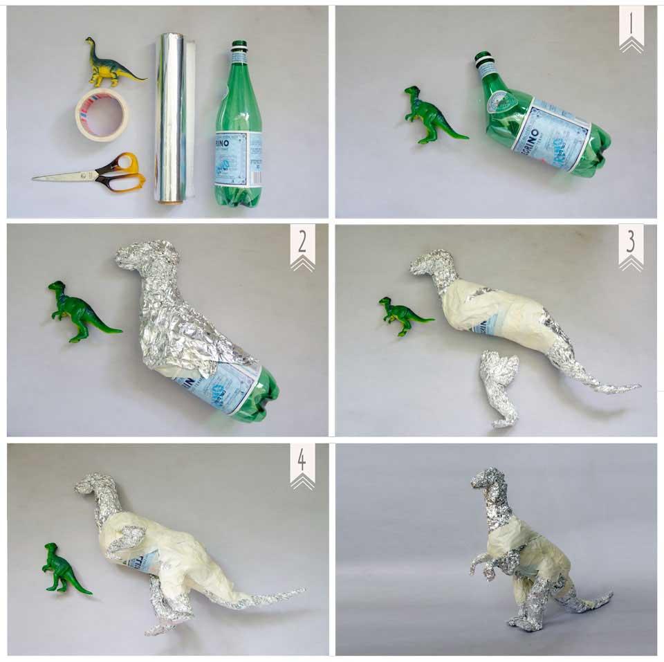 הדרכה בשלבים להכנת דינוזאור מבקבוק פלסטיק