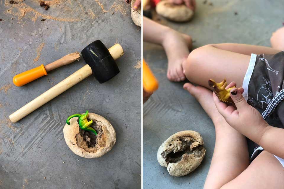 הילדים מכינים ביצי דינוזאורים לשבירה- פעילות כיפית עם הילדים ליום דינוזארים קייטנת אמא