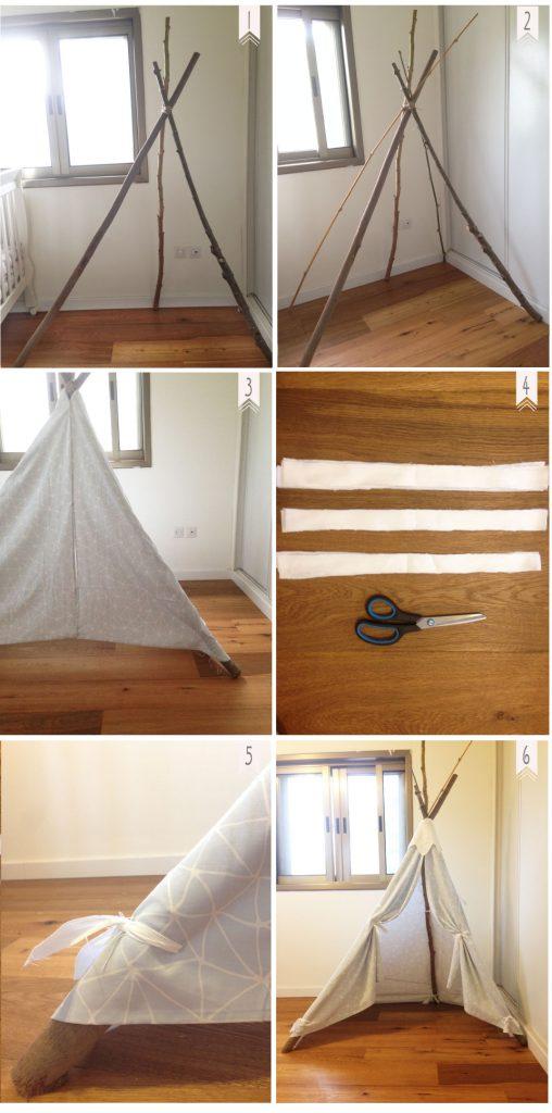 השלבים להכנת אוהל טיפי בייתי