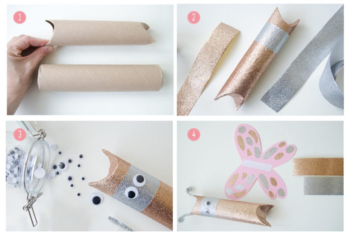 השלבים להכנת משלוח מנות פרפר מגליל של נייר סופג