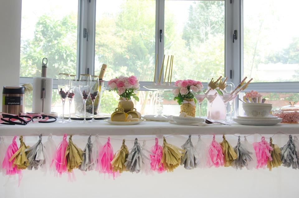 שולחן ערוך למסיבת רוז גולד