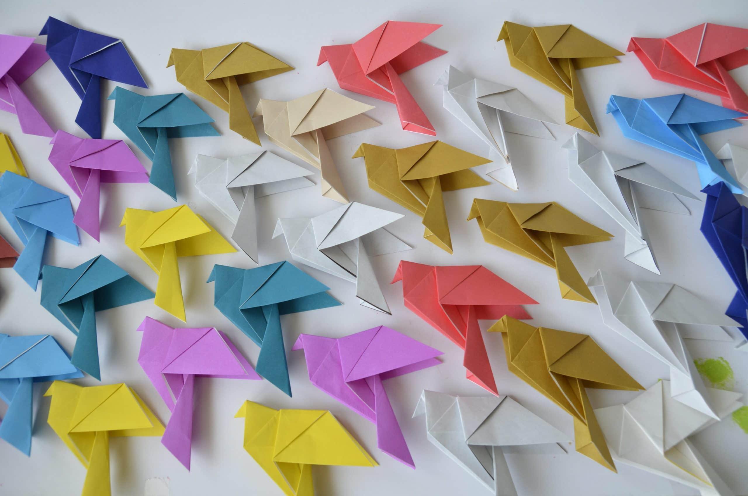 ציפורי אוריגאמי כרעיון לשנה החדשה בגן