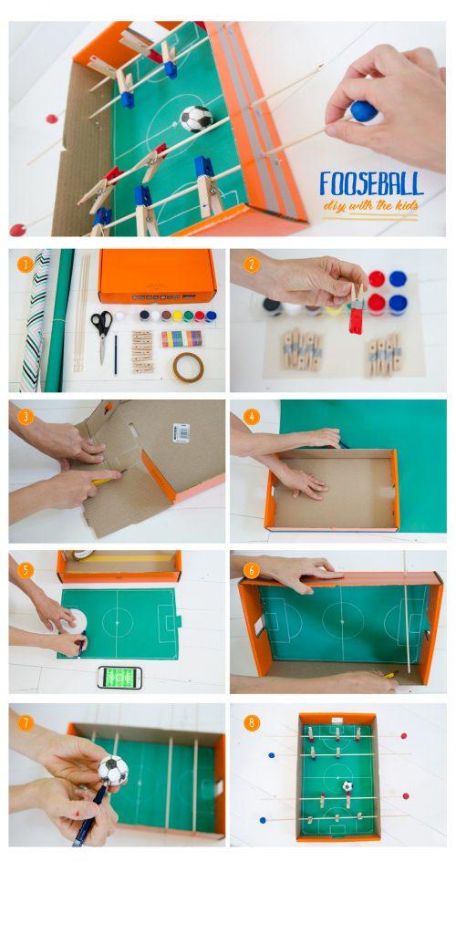 השלבים להכנת כדורגל שולחן מקופסת קרטון ואטבים
