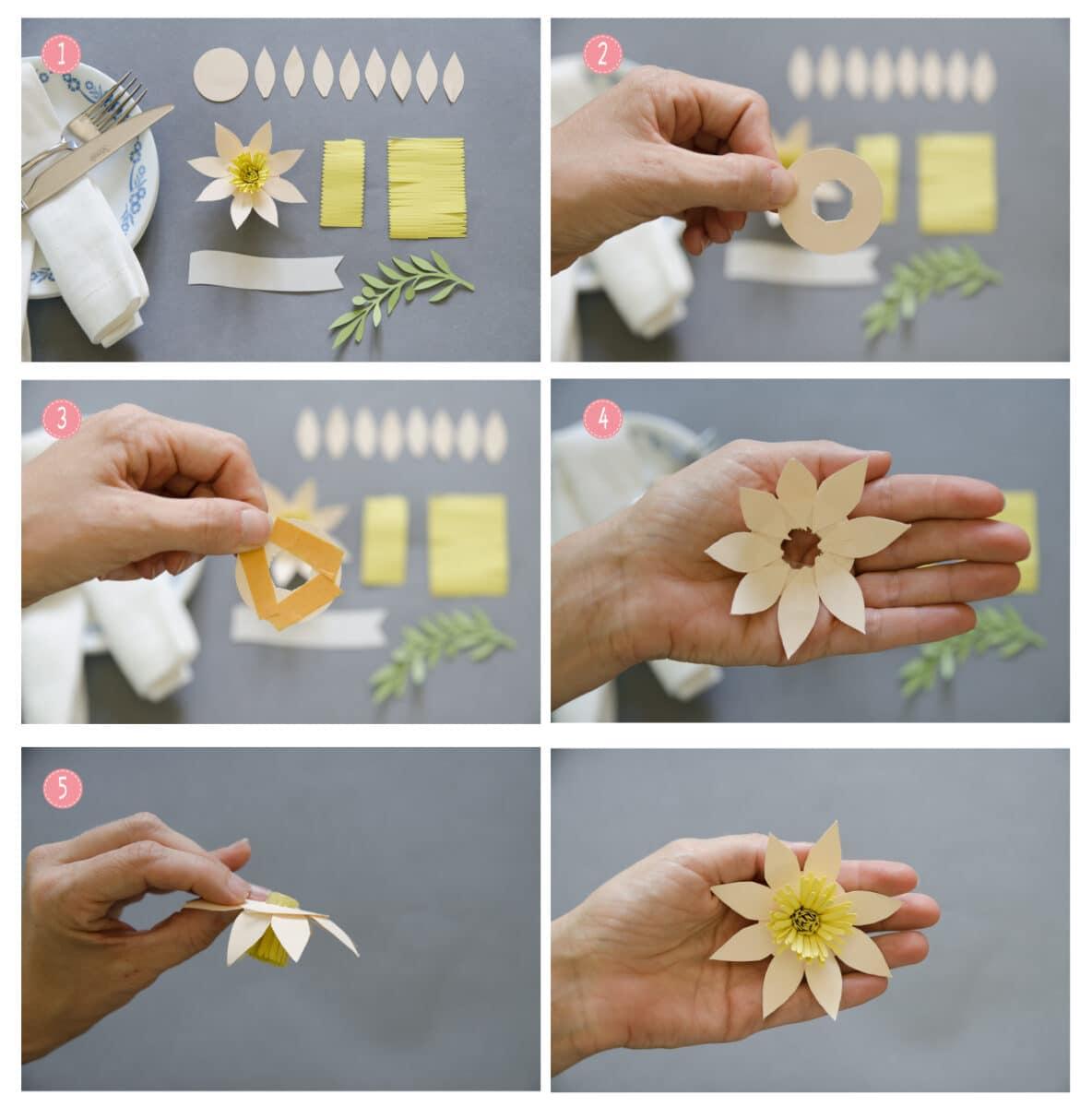 השלבים להכנת נרקיסים מנייר