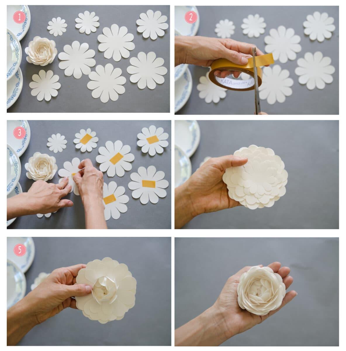השלבים להכנת פרחי אדמונית מנייר