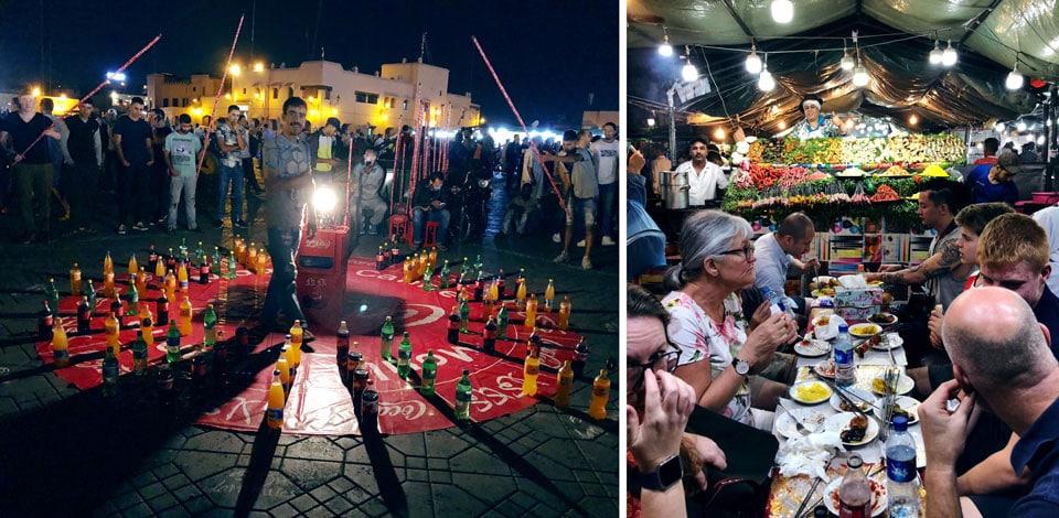 כיכר ג'מעה אל-פנה בלילה