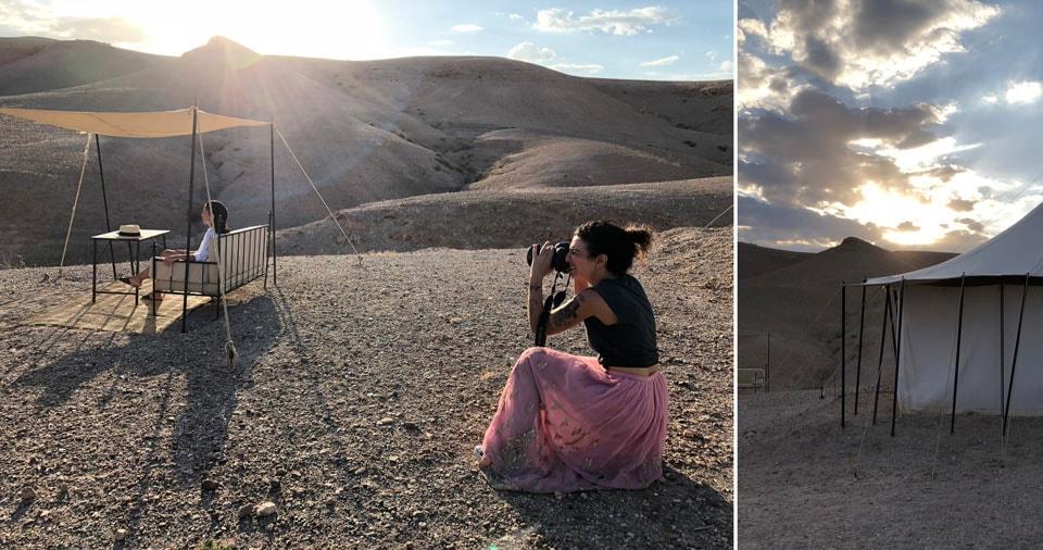 אפרת מצלמת אותנו בתפאורה של המדבר